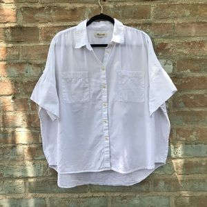 Madewell White Courier Short Sleeve Button Down